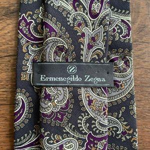 Ermenegildo Zegna Gray & Purple Paisley Tie